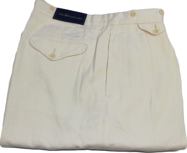Ralph Lauren Wide Leg Two Pleat Cream Pants
