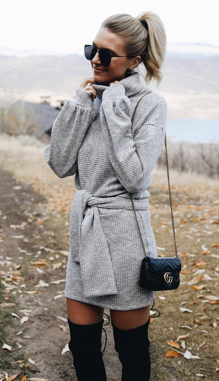 what to wear with a grey sweater dress : bag and black over knee boots