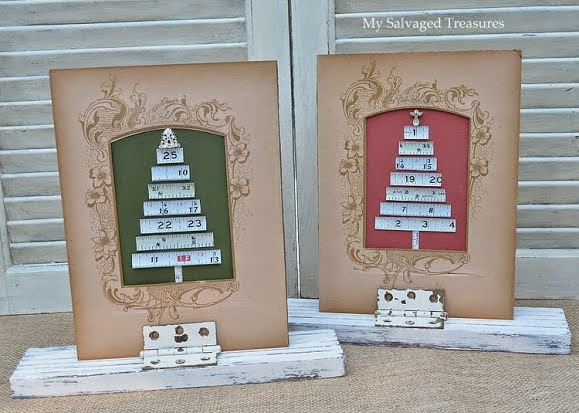 use Victorian photo album pages and old tape measures to make Christmas tree art