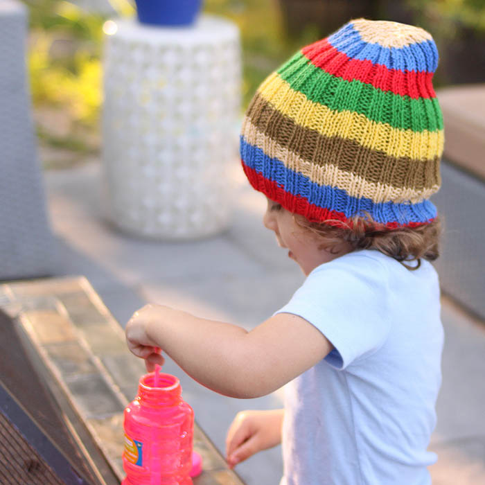 Knitting Pattern For A Toddlers Beanie : Toddler Stripe Slouch Beanie Free Knitting Pattern - Gina ...
