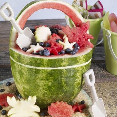 watermelon carving beach bucket