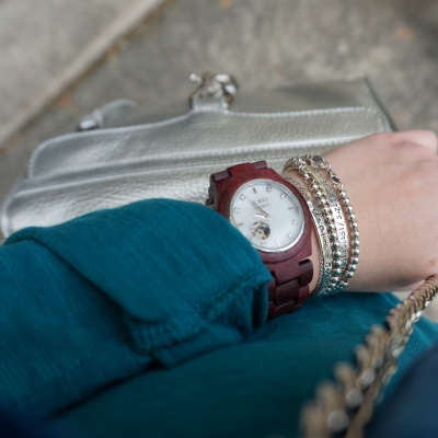 JORD Cora purpleheart mother of pearl wood watch RM mini MAC teal henley | AwayFromTheBlue