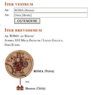 Introduce el punto de salida -por ejemplo Roma- en el campo Ab y el destino -p.ej., Ostia- en Ad y descubrirás la ruta a seguir, así como la distancia (XVI milia passum) y la duración del viaje (II Dies).