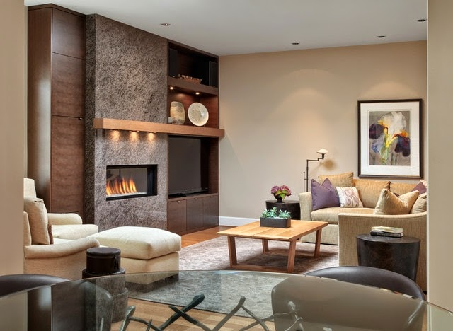 Lindas salas con chimenea colores en casa for Salas de television modernas