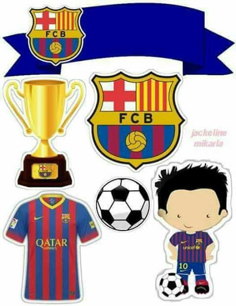 Futbol Club Barcelona Free Printable Cake Toppers.