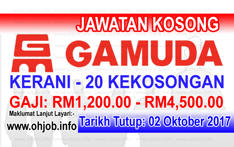 Jawatan Kerja Kosong Gamuda Berhad logo www.ohjob.info oktober 2017