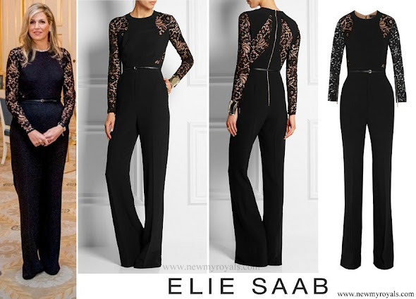 Queen Maxima wore Elie Saab Lace-paneled stretch-crepe jumpsuit