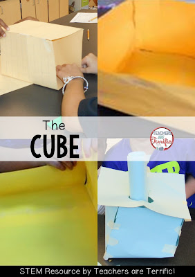 STEM Challenge: Build a container for popcorn! This group chose a cube shape! More on this blog post!