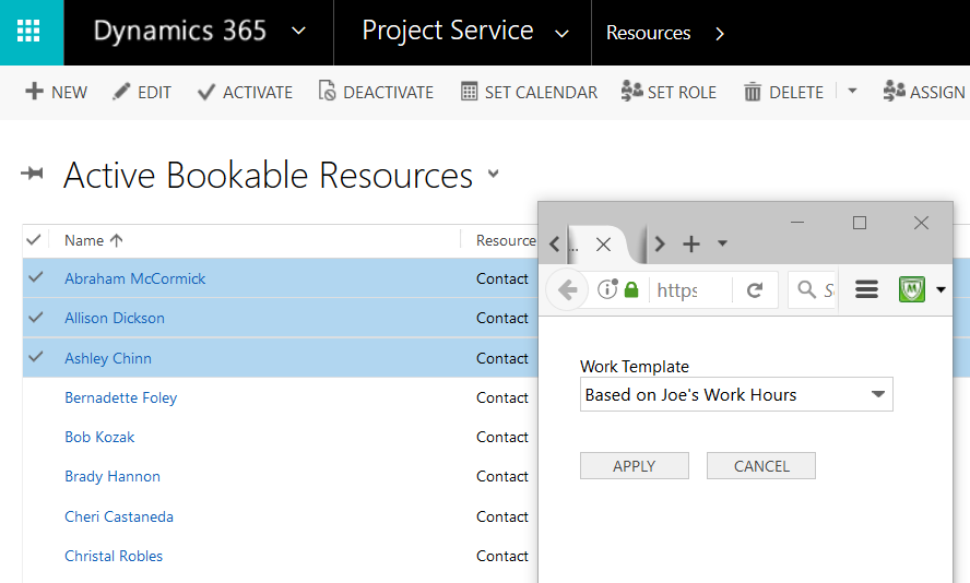Project service automation work hours templates microsoft once you have your work hours template created you can assign this template to resources by selecting the resources and the set calendar option pronofoot35fo Images