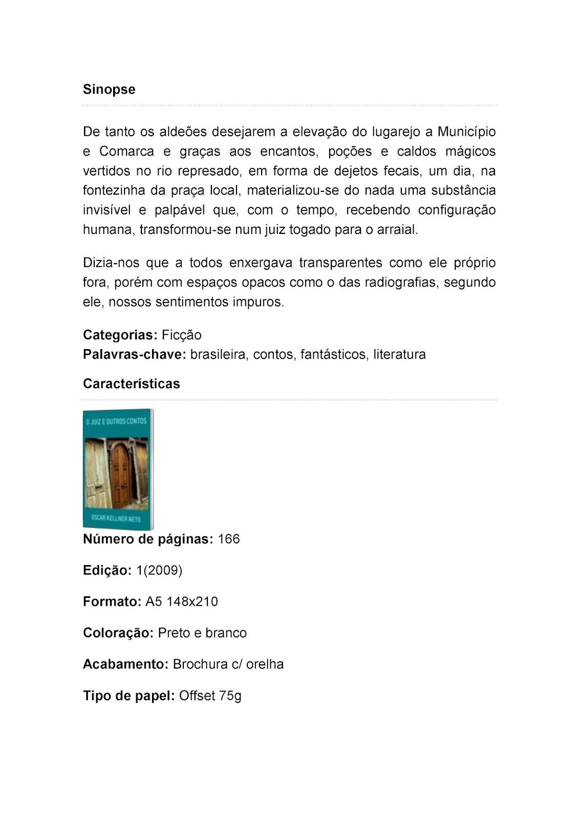 A LITERATURA DE OSCAR KELLNER NETO  O JUIZ E OUTROS CONTOS 81fe4d1cfe