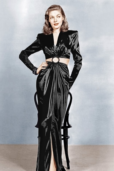 Lauren Bacall, 1944 black evening gown open midriff ring 40s war era satin padded shoulders