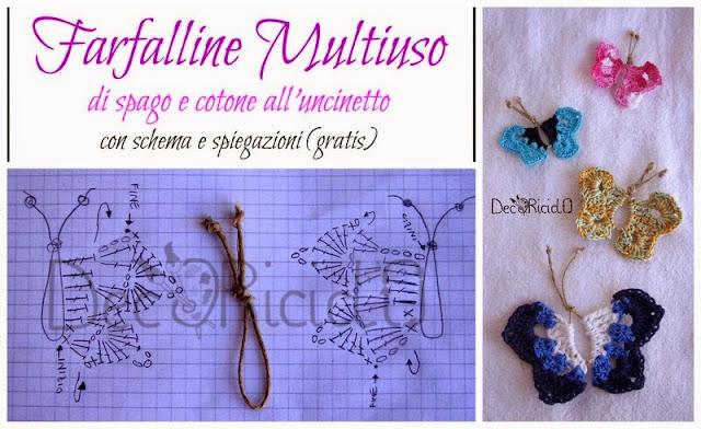 Decoriciclo Farfalle Di Spago E Cotone Alluncinetto Con Schema E