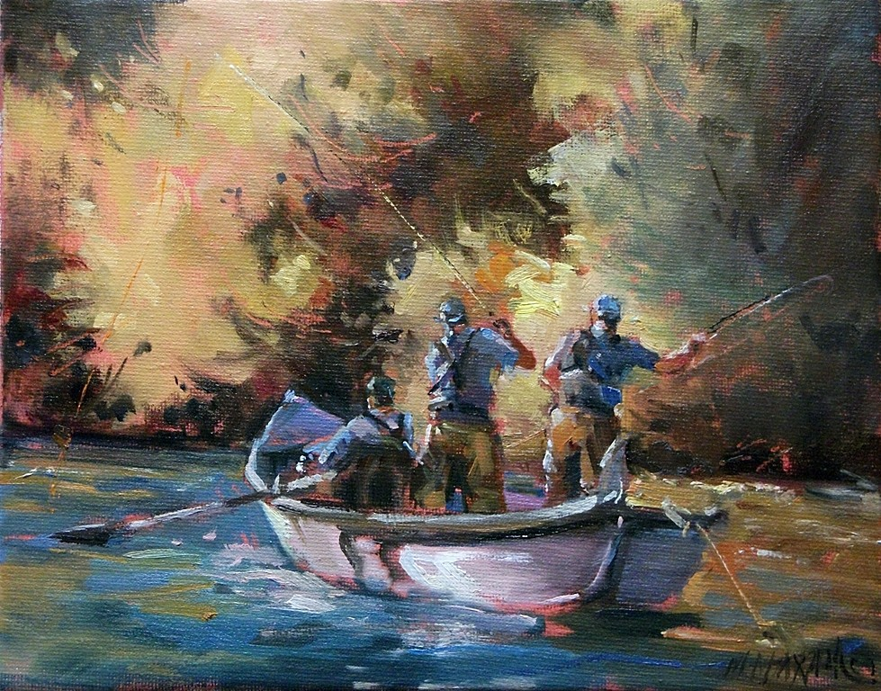 Mary maxam paintings three men in a boat fall fly fishing for Fishing boat painting