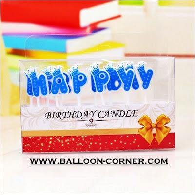 Lilin Ultah Motif HAPPY BIRTHDAY Warna Biru (Mahkota)