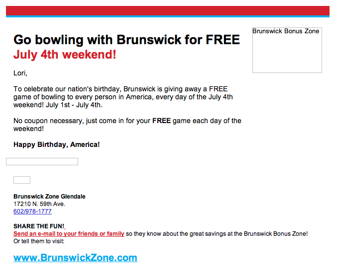 FREE bowling on July 4! - Fun Cheap or Free