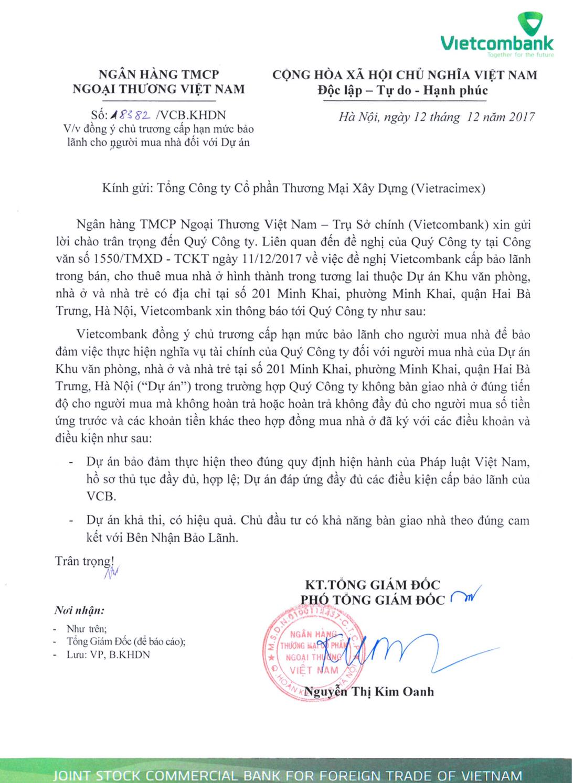 Vietcombank bảo lãnh khách mua căn hộ chung cư Hinode City