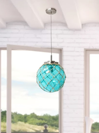 Blue Rope Net Glass Globe Pandant Light Ceiling Lamp