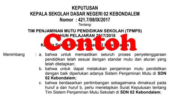 Contoh SK Tim Penjaminan Mutu Pendidikan