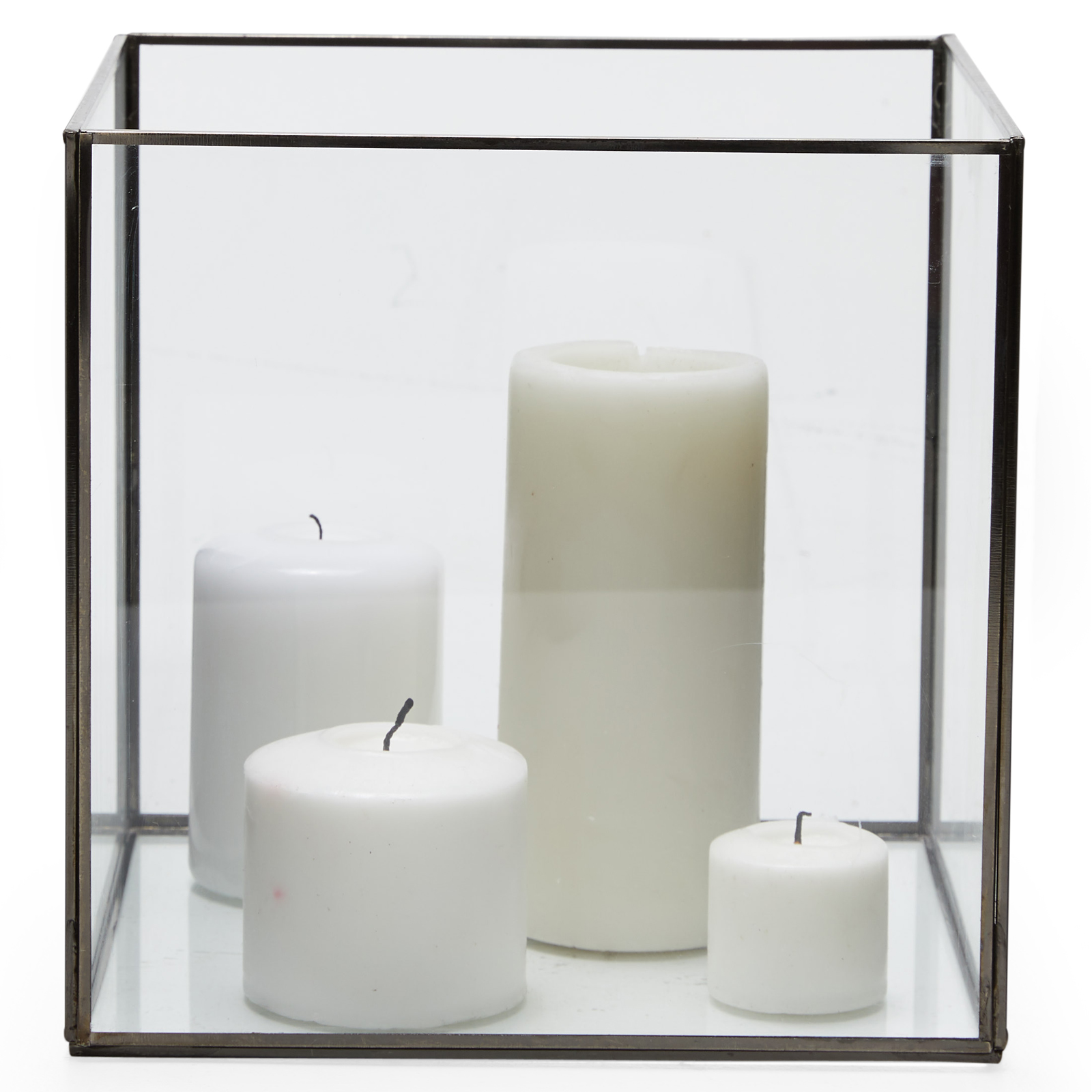 Square black glass candle holder