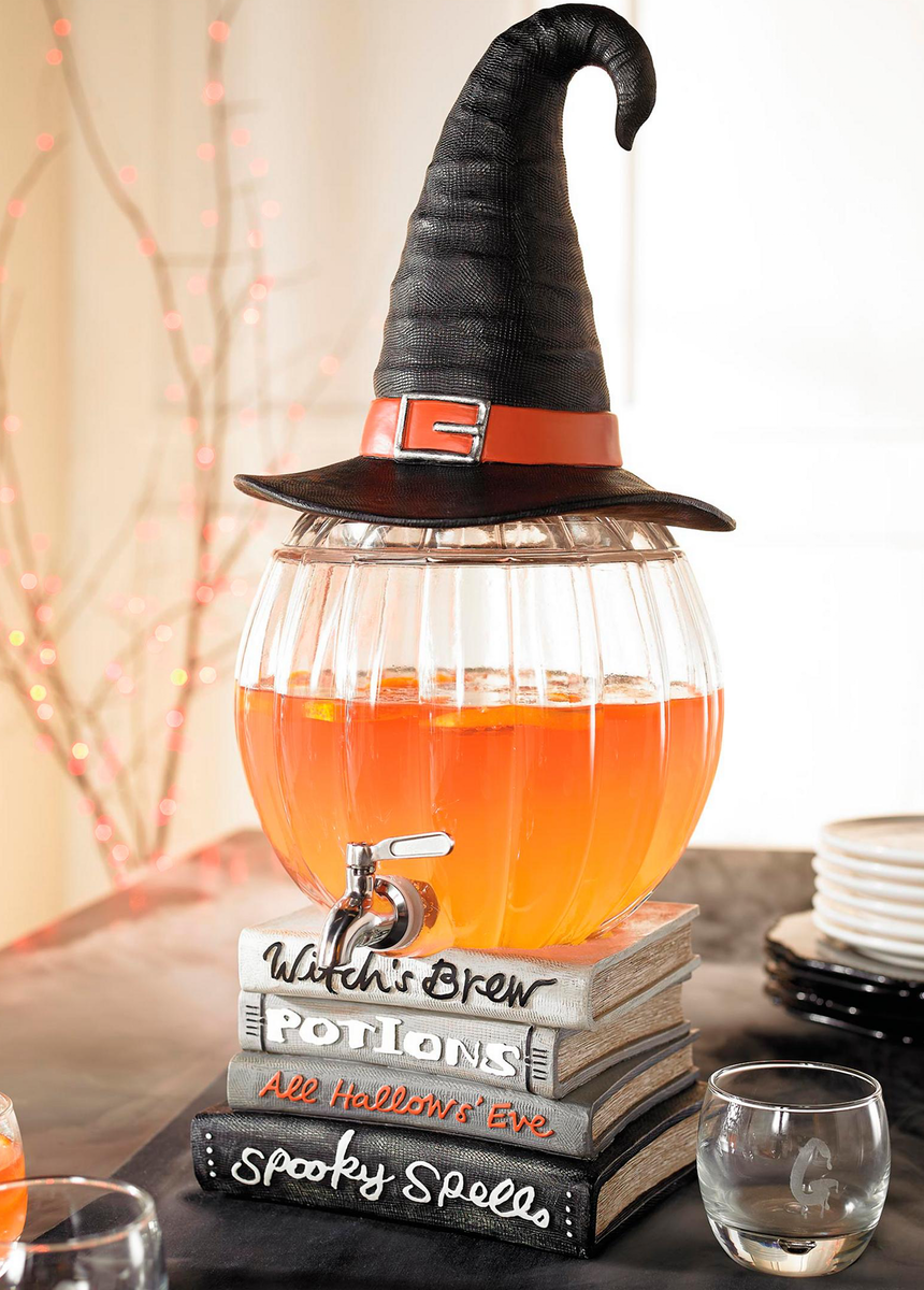 Grandin Road Pumpkin Witch Drink Dispenser