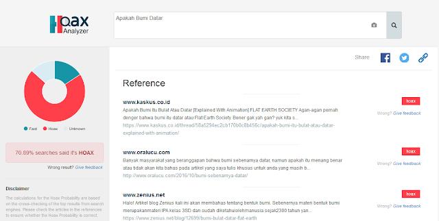 Tampilan Website Hoax Analyzer Ketika Di Akses Via Desktop