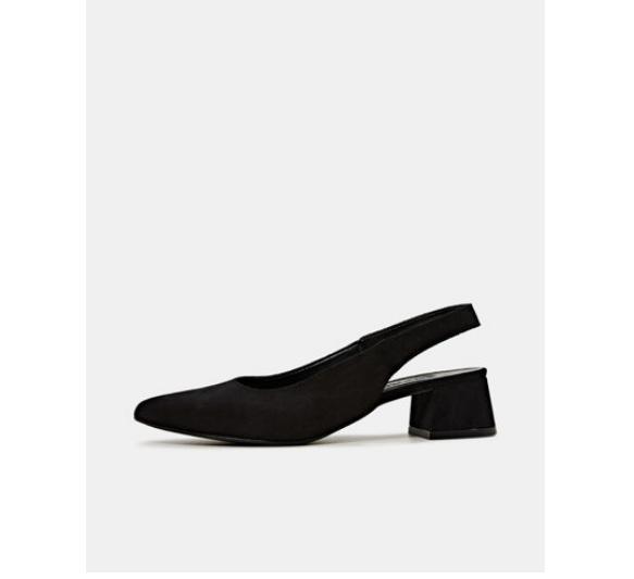 Esprit Pantofi slingback din piele intoarsa naturala negri cu toc gros jos