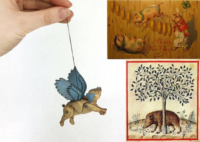 Cochon volant : Laura Mathews  Carte de nouvel an, début XXème siècle  Sanglier glandant  image extraite du Tacuinum Sanitatis