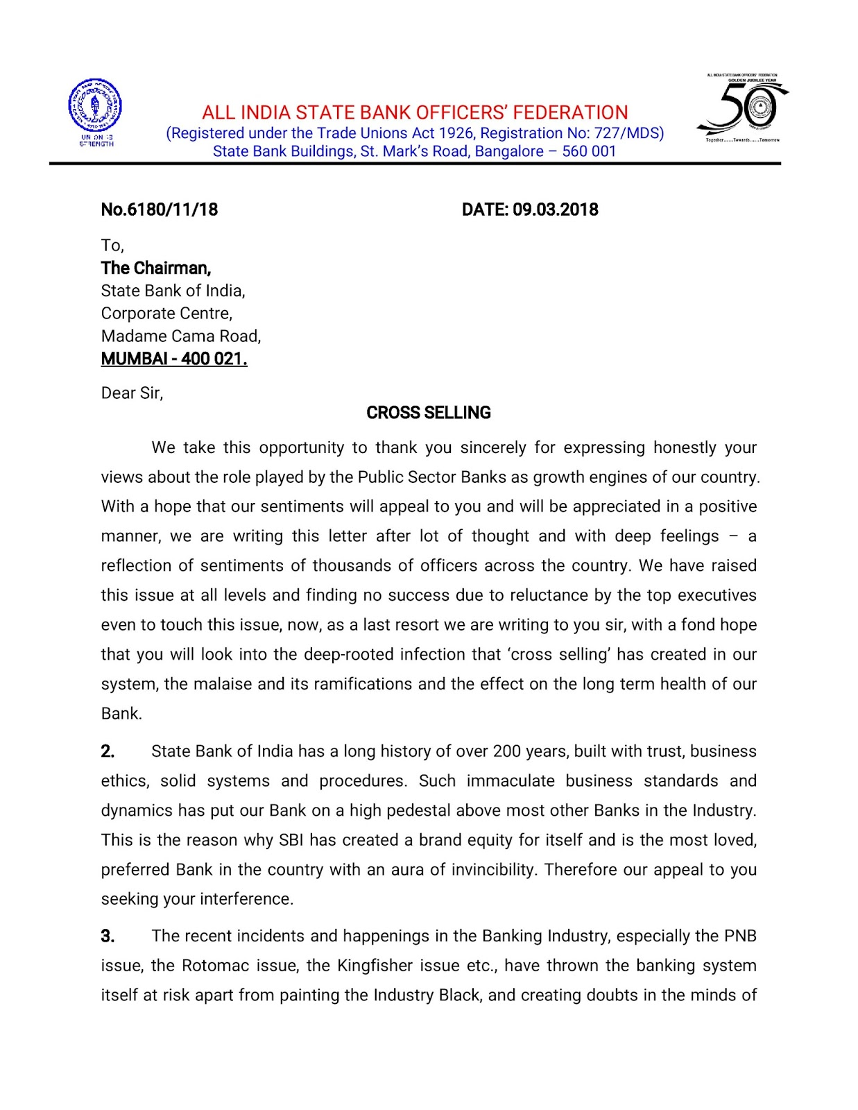 All India State Bank Federation Released Circular regarding cross selling