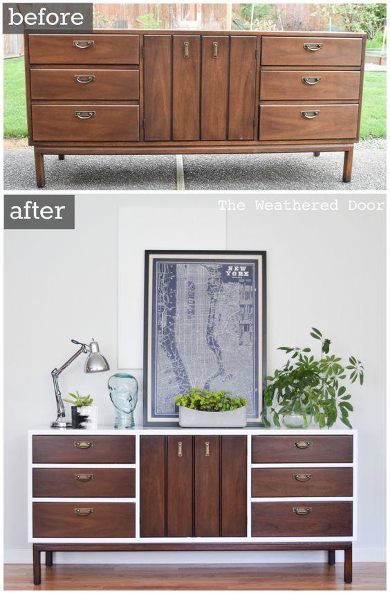 antes e depois renovar-reformar um movel-aparador-buffet com tinta pintura