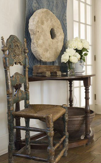 Pamela Pierce Designed vignette with antiques and French country style.