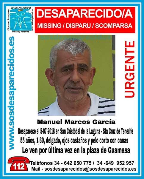 Manuel Marcos García se encuentra desaparecido en San Cristóbal de La Laguna, Tenerife, desde el pasado día 5 de julio