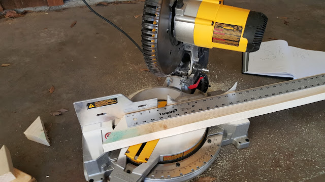 miter saw preparing to cut a 2x4