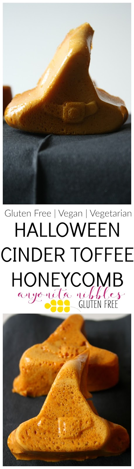 Gluten Free Halloween Cinder Toffee or Honeycomb Witch's Hats | Anyonita Nibbles