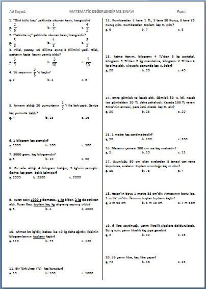 Karisik Problemler Testi 3 Sinif Matematik Etkinlikleri