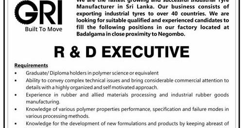 Vacancies for R&D executive, Production executive at Global