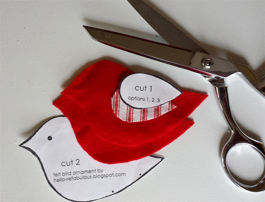 Sentiu pássaro vermelho enfeite de Natal, tutorial DIY livre e padrão via refabulous