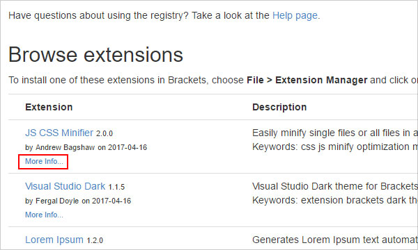 More info link on Brackets extensions registry page
