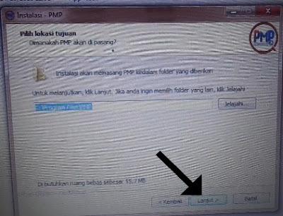 Lokasi tujuan instal PMP