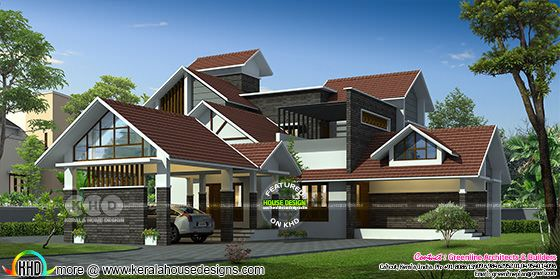 3308 square feet sloped roof house architecture
