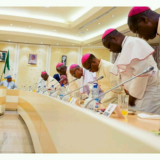1a President Buhari meets with Catholic Bishops in Aso Rock