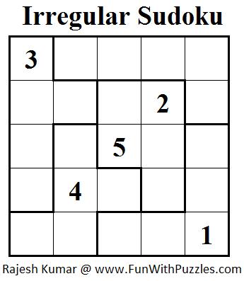 photo about Sudoku 6x6 Printable referred to as Jigsaw Sudoku or Abnormal Sudoku (Mini Sudoku Collection #23