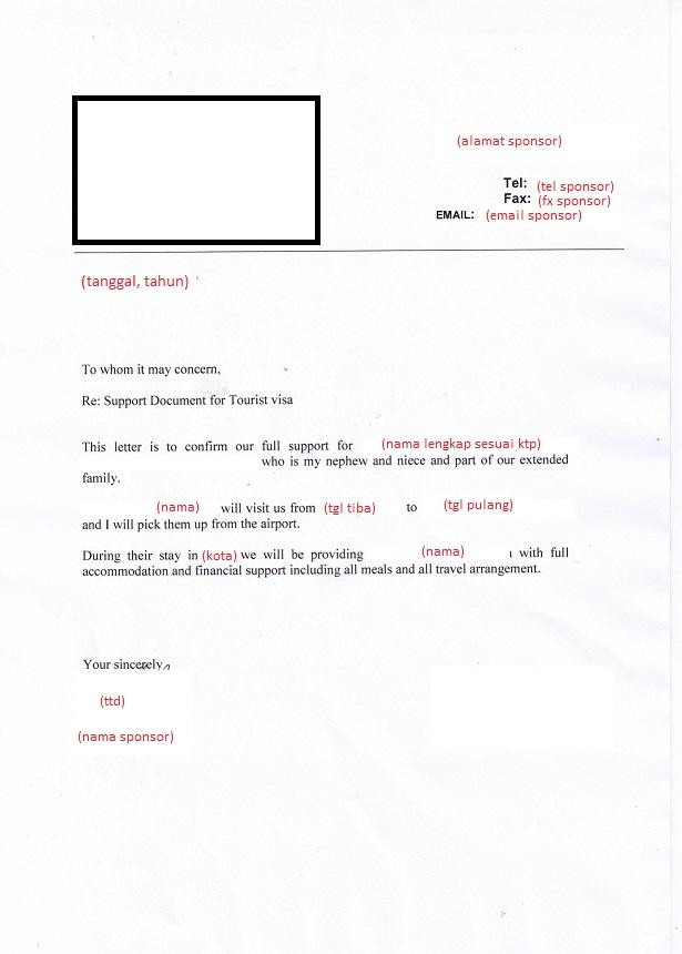 Contoh Surat Referensi Kerja Untuk Visa Australia Surat