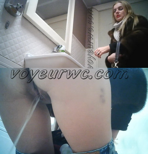 WC 2423-2427 (Girls peeing on hidden voyeur camera: Pissing in the toilet of public restaurant)