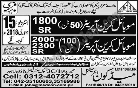Jobs in Saudi Arabia for Mobile Crane Operator and Others