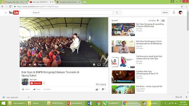 Video Kak Ojan mendongeng di Ujung Kulon
