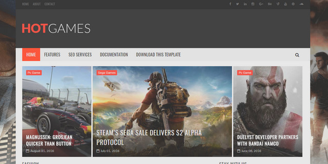 Hot Games Gaming Responsive Blogger Templates