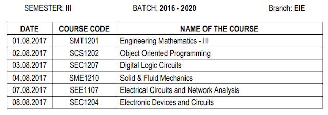 Sathyabama University Time Table