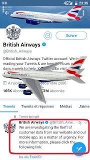اختراق موقع الخطوط البريطانية Britishairways وسرقة بيانات ازيد من 38 ألف بطاقة إئتمانية