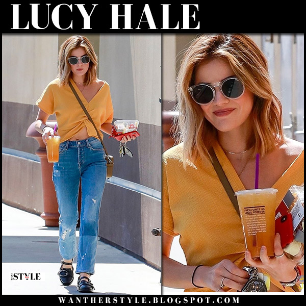 Lucy Hale in orange top and distressed jeans 7 for all mankind street fashion june 11