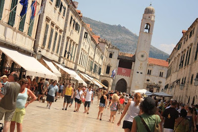Stradun and Clock Tower in Dubrovnik